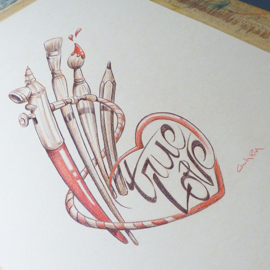 Sketch true love pencil on paper truelove airbrush pen