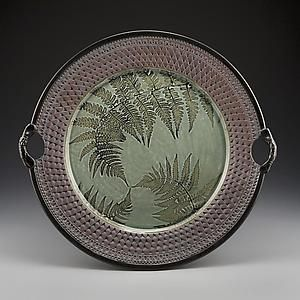 Three Ferns Handled Platter: Suzanne Crane: Ceramic Plate | Artful Home