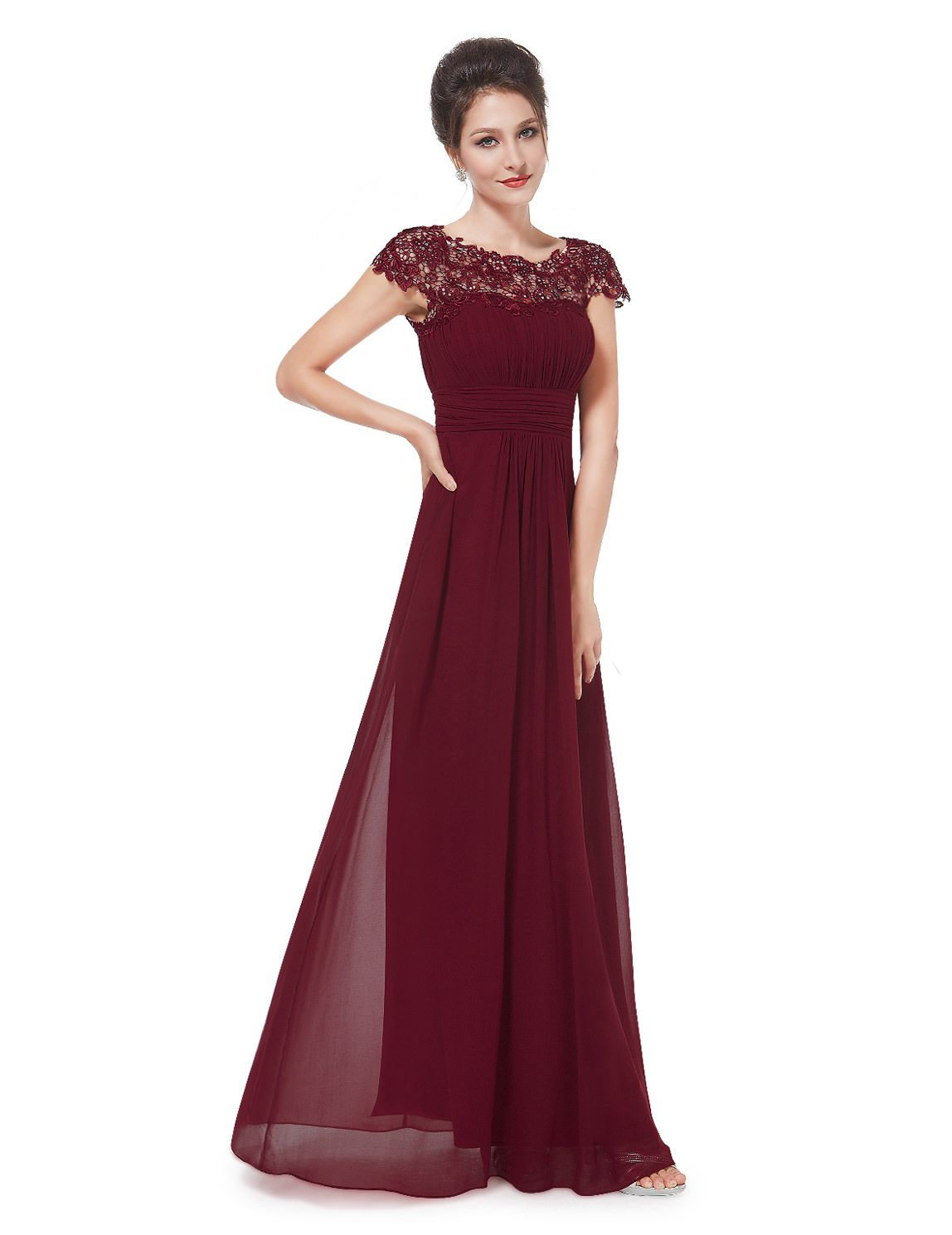 Edles langes Spitze Abendkleid in Bordeaux Rot  Abendkleid