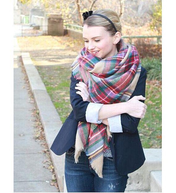 The Zara Tartan Plaid Blanket Scarf Camel Multi by childrenathome ... 9375d2822c1