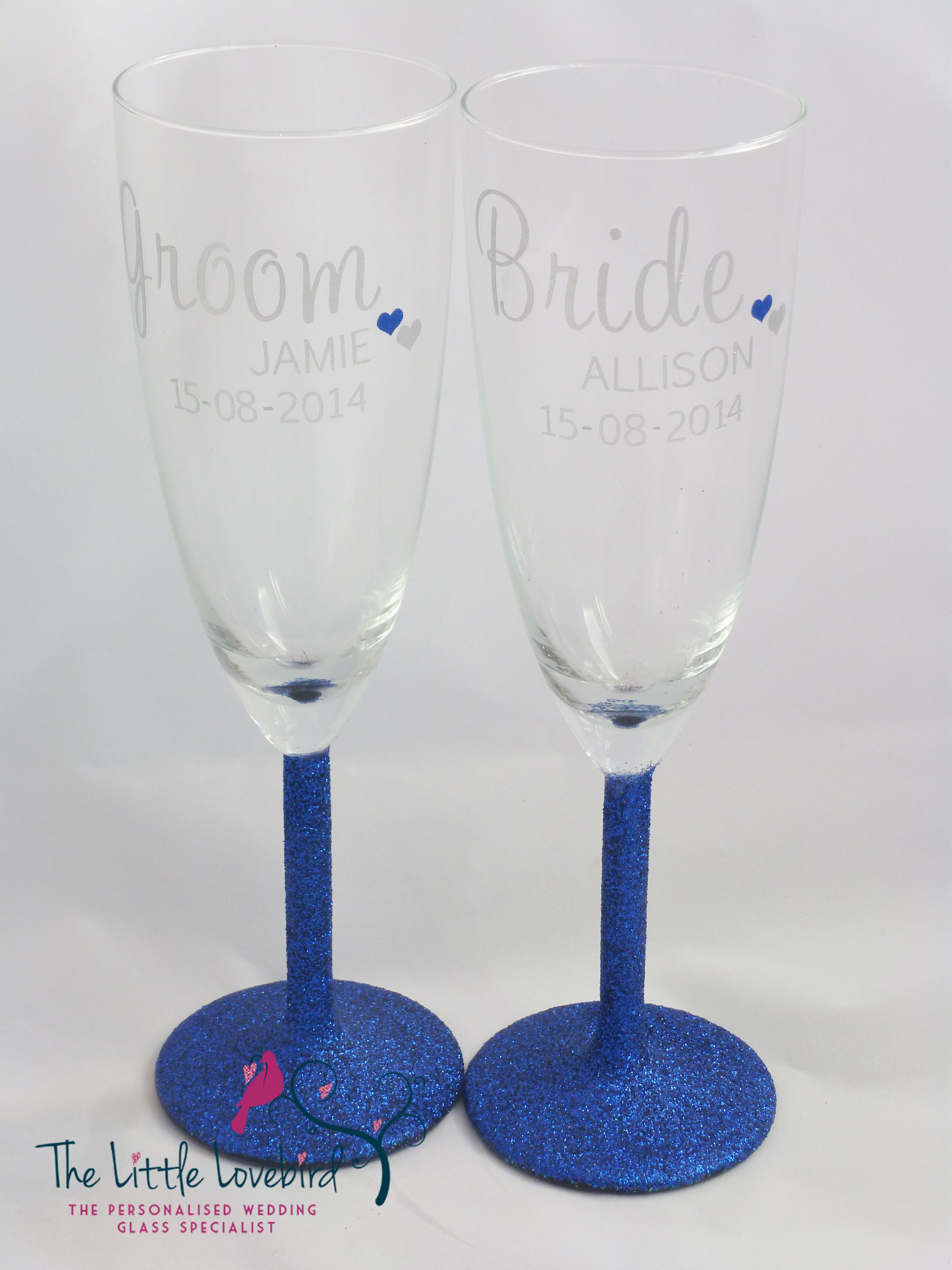 Royal Blue Personalised Champagne Glasses from The Little Lovebird ...