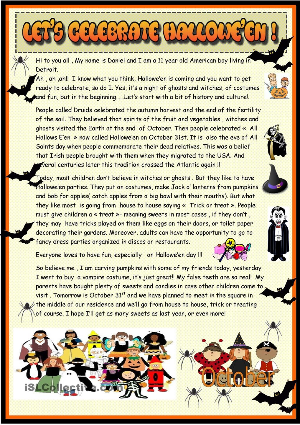 lets celebrate halloween 2 page reading esl worksheets of the