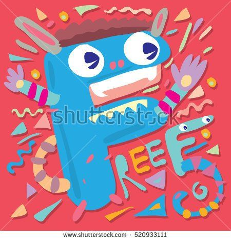 Letter F Monster Vector Illustration Template For Poster Design
