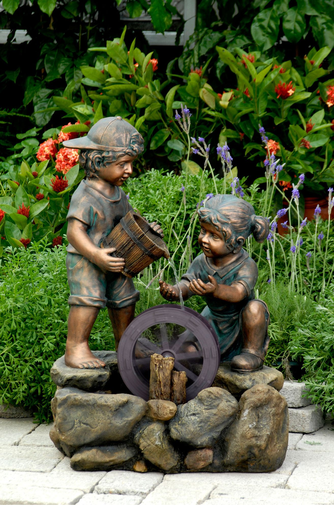 Resin/Fiberglass Two Kids Fountain  Indoor water fountains
