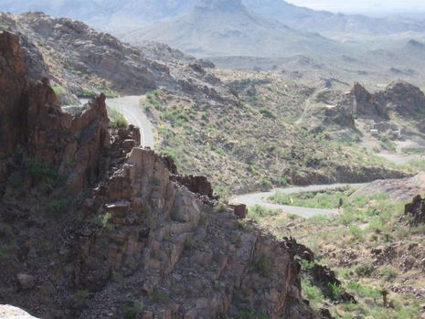 As Route 66 climbs through Sitgreaves Pass near Oatman, vistas of the rugged desert country unfold.