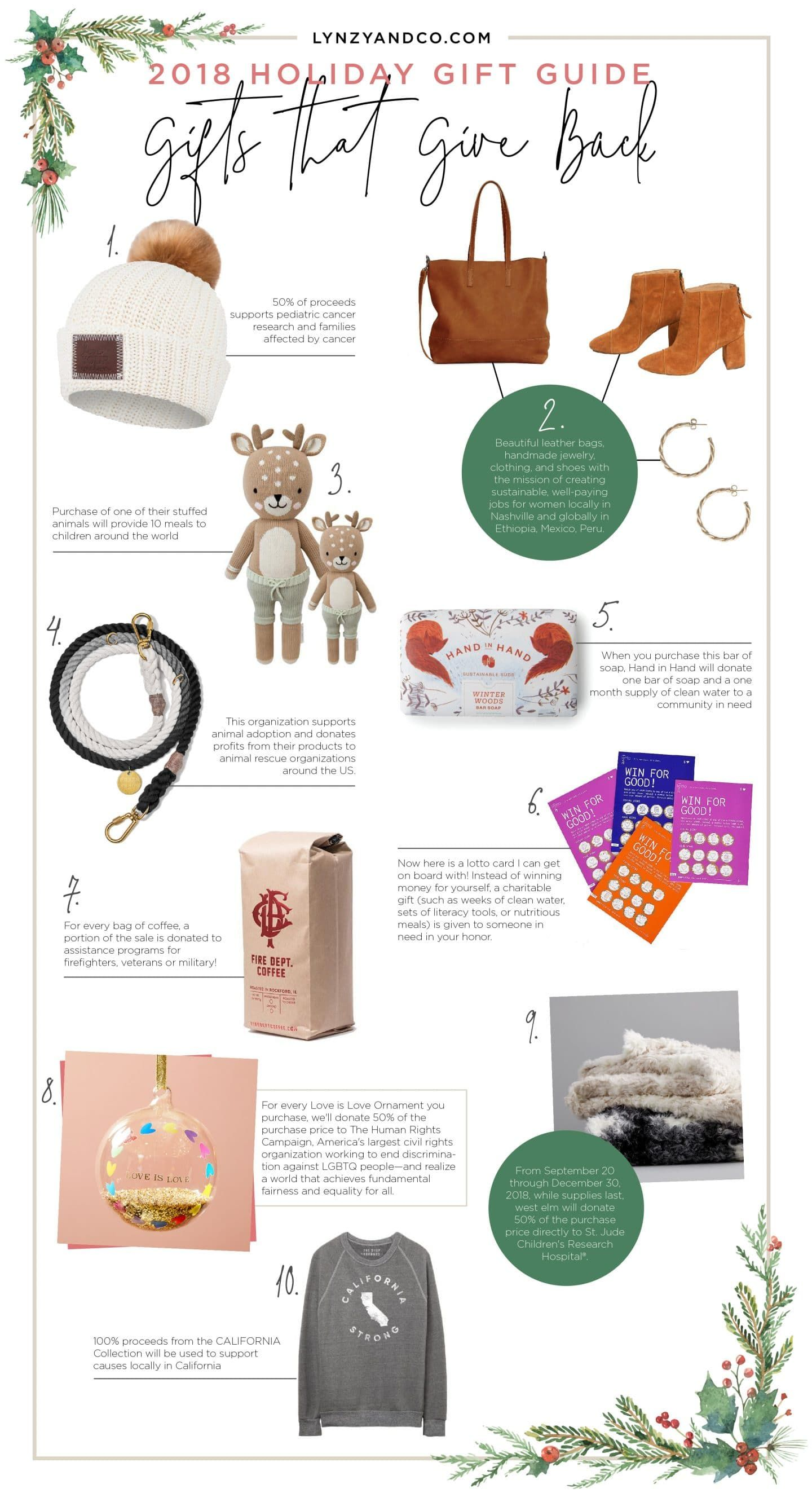 Holiday Gift Guide Gifts That Give Back Lynzy Co Unique Gift Guide Holiday Gifts Gifts