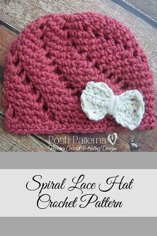 Crochet Pattern Crochet Eyelet Lace Hat And Bow Pattern