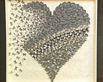 coeur en papier 3d art papillon nuances de d grad de projet de tableaux pinterest art. Black Bedroom Furniture Sets. Home Design Ideas