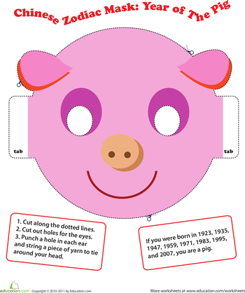 make a chinese zodiac mask year of the pig chinese new. Black Bedroom Furniture Sets. Home Design Ideas