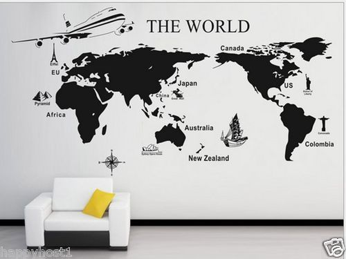 World map decal ebay vacay pinterest bedrooms interiors and room world map decal ebay gumiabroncs Gallery