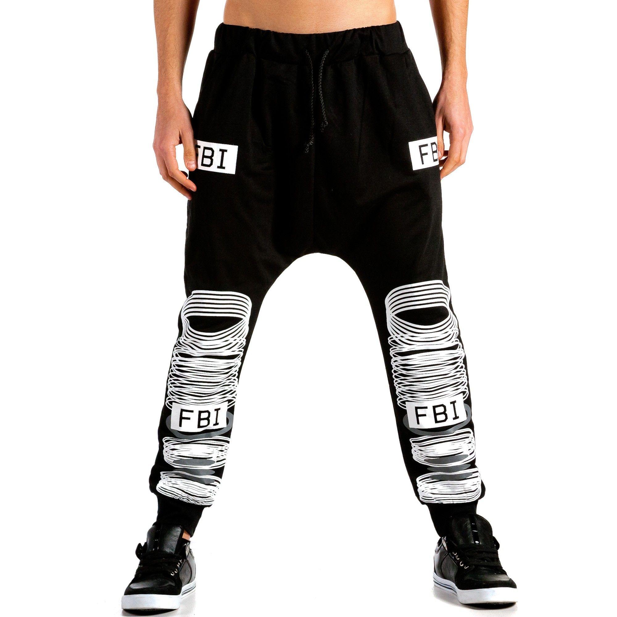 Мъжки черни потури с бял принт Sweatpants, Fashion, Pants