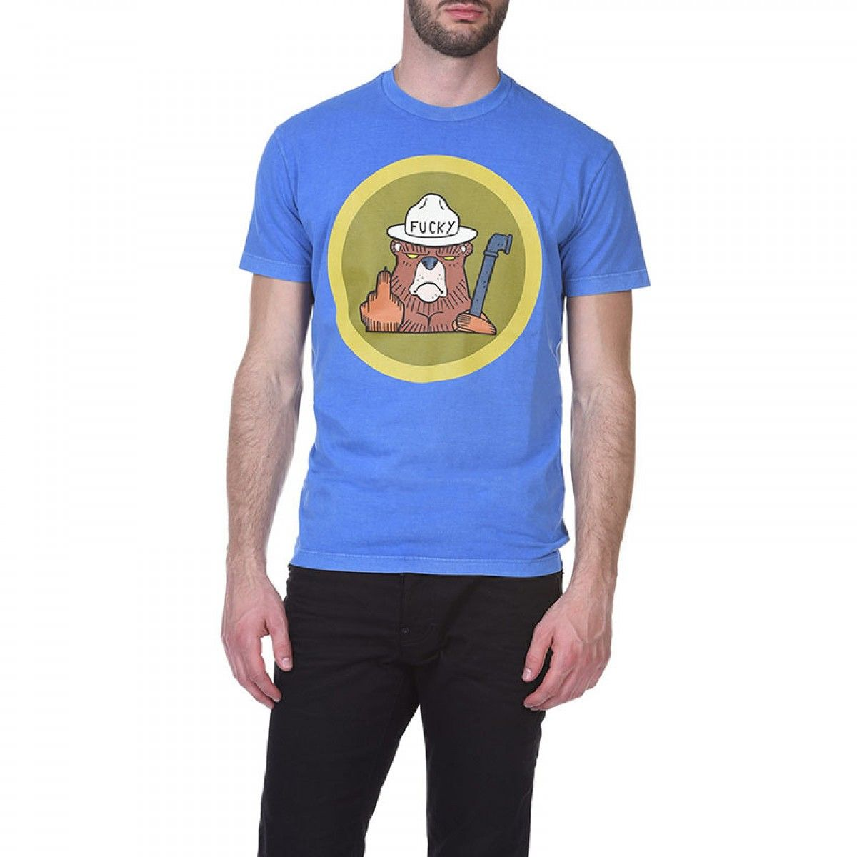 e7f14183bd8002 Dsquared2 SS2018 Mens T-Shirt DT209 Fucky Bear Blue | Clothingtmall ...