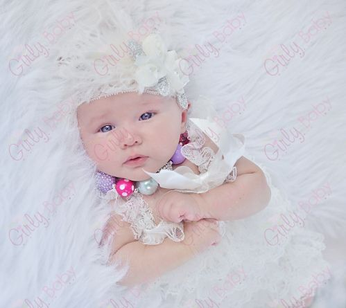 b19ff606f Newborn Baby Girls Cream & Metallic Silver Ostrich Feather Flower Lace  Headband & Petti Romper Outfit Set