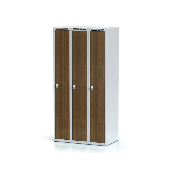 Wardrobe 3-door, laminated walnut door, revolving lock …