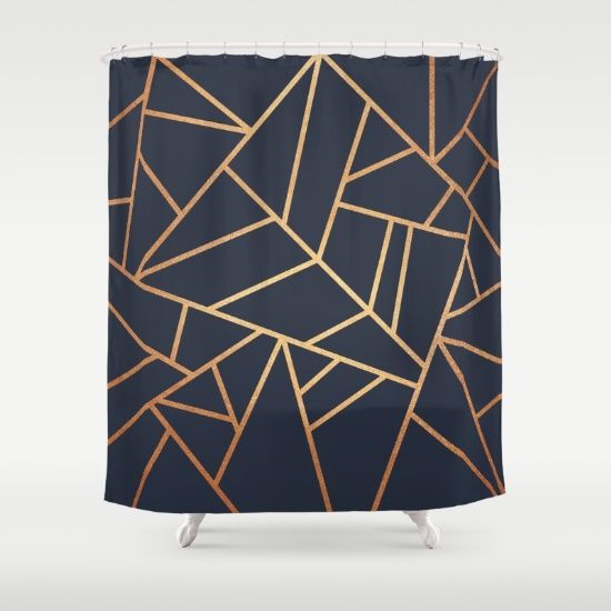 Copper And Midnight Navy Shower Curtain By Elisabeth Fredriksson