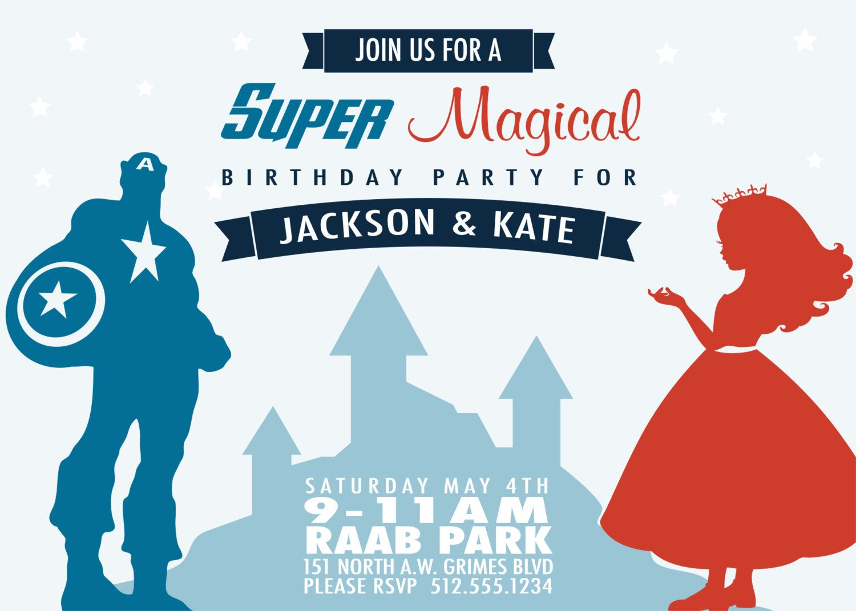 Superhero and Princess Birthday Party Invitation (Printable ...