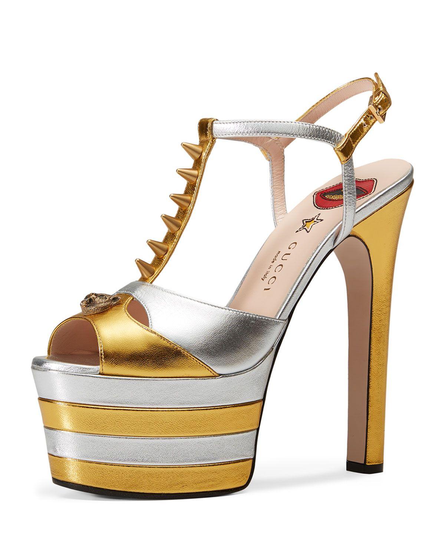 fbd54b350d Angel Studded T-Strap Platform Sandal Gold in 2019 | shoes Gucci ...