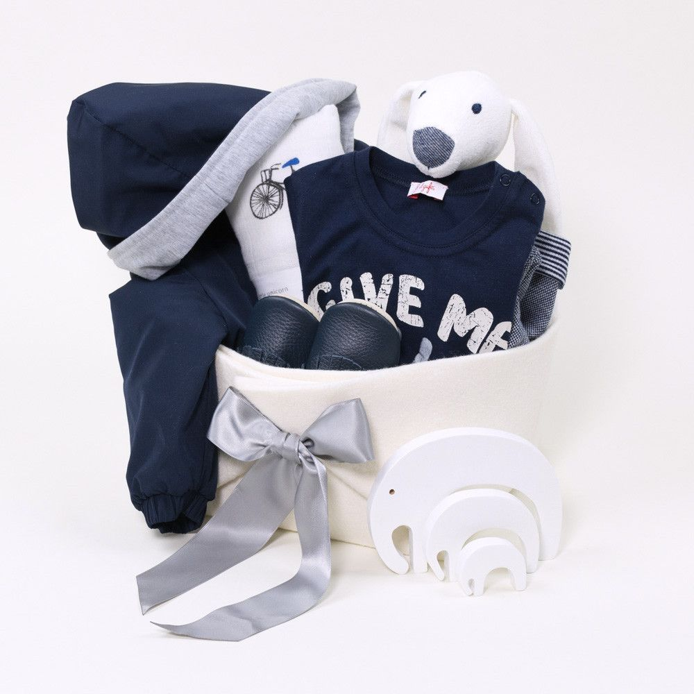 Baby boy gift basket featuring il gufo babys boats the