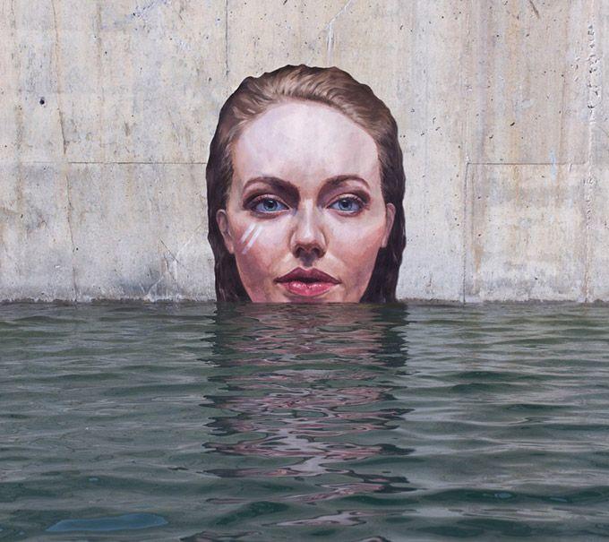 Lindas pinturas de mulheres retratadas em lugares abandonados