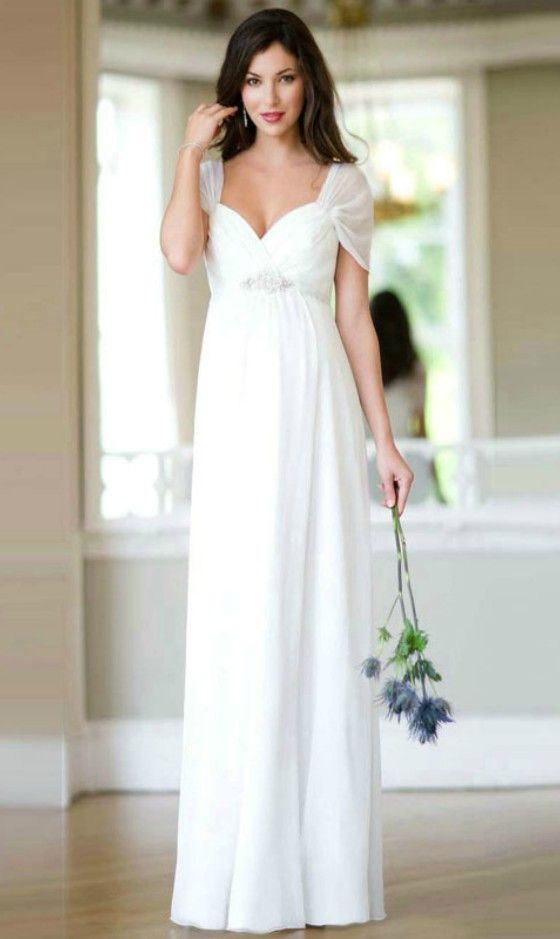 Simple sweetheart chiffon wedding dress for older brides for Bridal dresses for second weddings