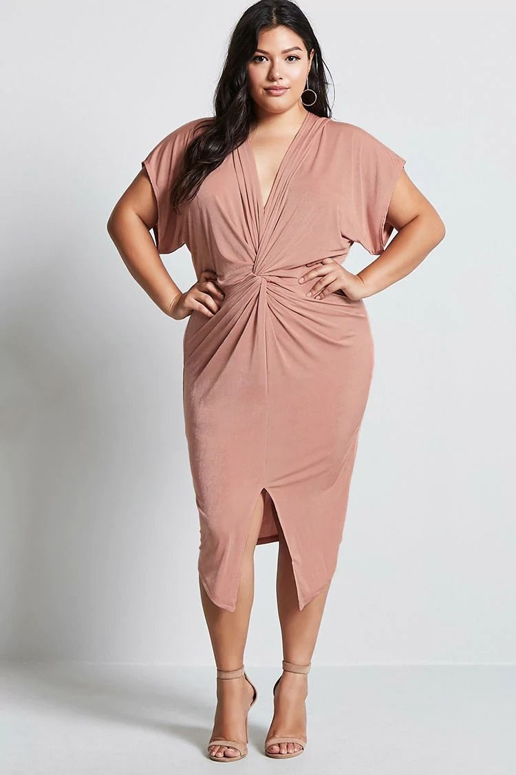 Forever 21+ - A sheeny stretch-knit dress featuring a twist front ...