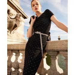 The Kooples - Langes schwarzes Kleid mit Nieten aus Silber - Herrenthekooples.com #silvesteroutfitdamen
