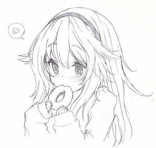 Cartoon Simple Anime Girl Drawing