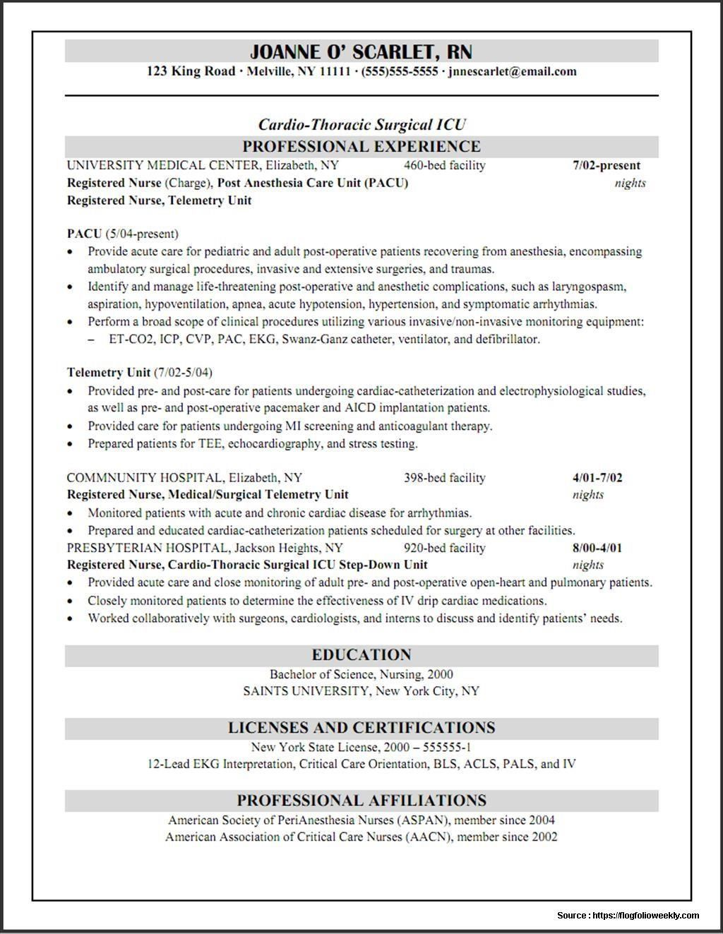 Resume Examples By Industry And Job Title Rn Resume Registered
