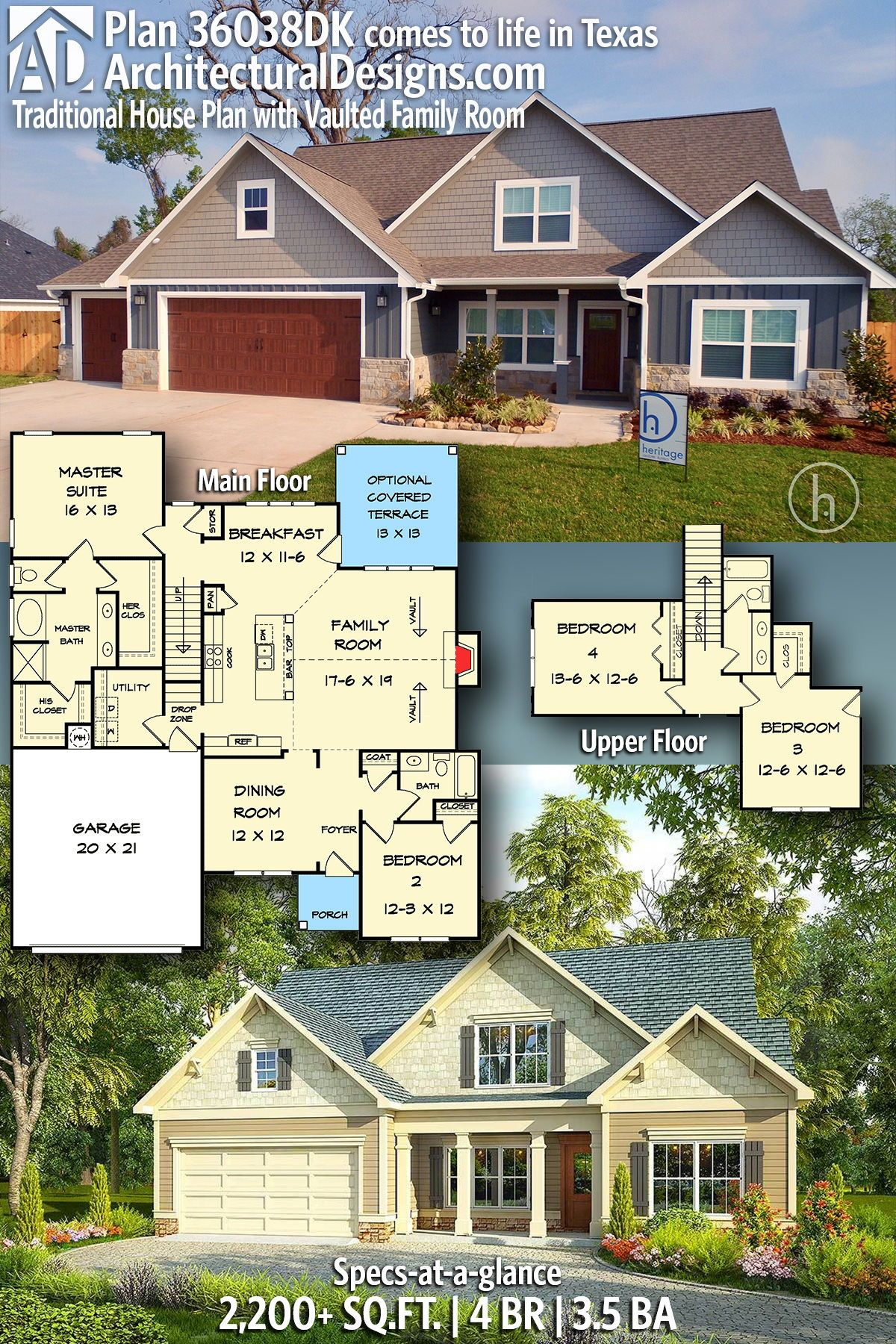 Plan 36038dk Traditional House Plan With Vaulted Family Room House Plans Custom Home Plans Craftsman House Plans
