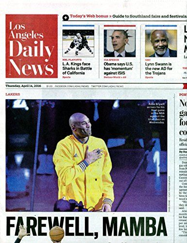 Kobe Bryant Last Game Newspaper April 14 2016 Los Angele Https Www Amazon Com Dp B01f44o1jw Ref Cm Sw R Pi Dp X Qsa Lakers Kobe Bryant Los Angeles Lakers