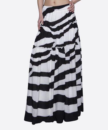 Look what I found on #zulily! Black & White Stripe Tiered Maxi Skirt #zulilyfinds