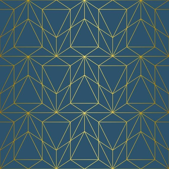 Removable peel and stick wallpaper/ gold geometric