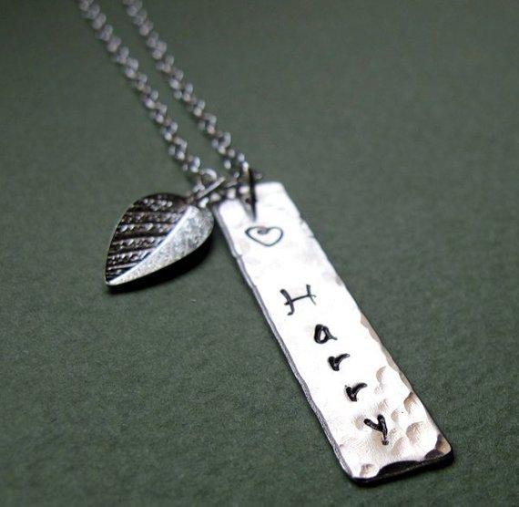 Stainless Steel Vertical Name Bar Rectangular Plain Pendant Customized Necklace