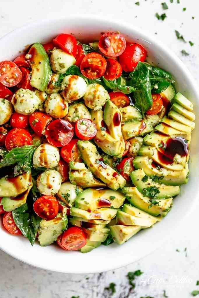 Photo of Avocado caprese salad.