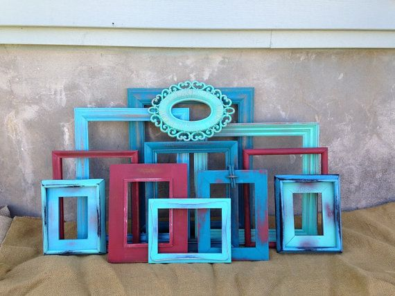 Diy home decor on a budget. Picture Frames Distressed Rustic Home Decor by TimelessNchic, $119.95