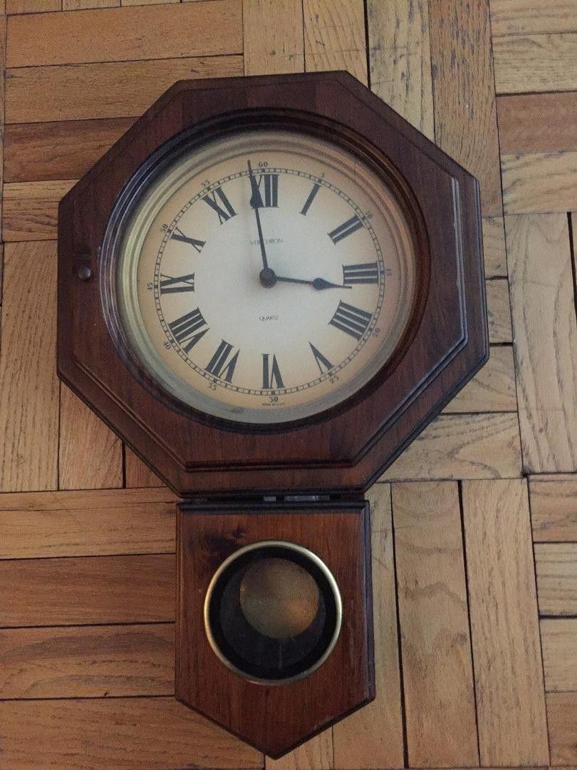 Vintage Verichron Wall Pendulum School House Clock 1844982534