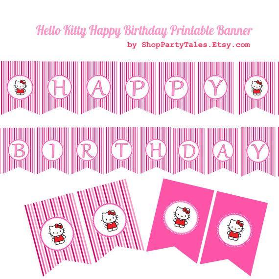 Hello Kitty Pink Party Happy Birthday Pennant By Shoppartytales 5 00 Desain