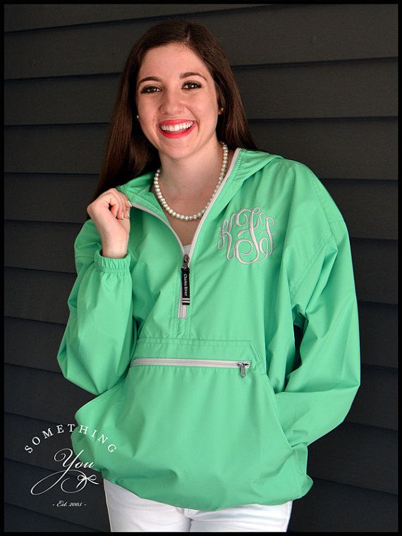 Mint Monogram Windbreaker Jacket by SomethingYouGifts on Etsy