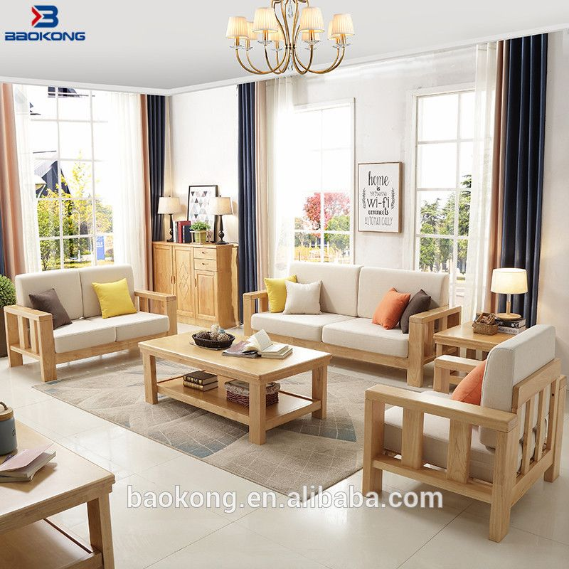 Malaysia Wood Sofa Sets Furniture Rubber Wood Sectional Sofa Set