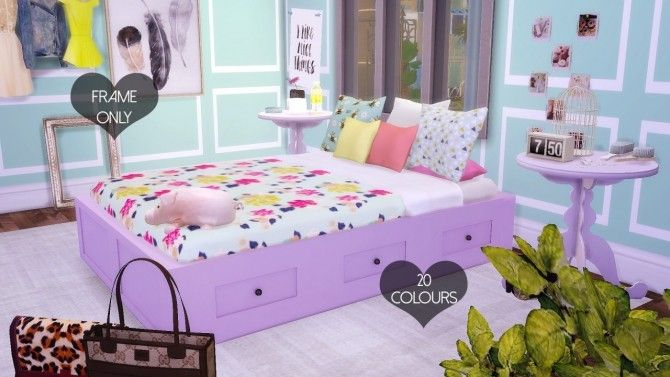 Basic Double Bed Mesh Frame Only At DreamCatcherSims4