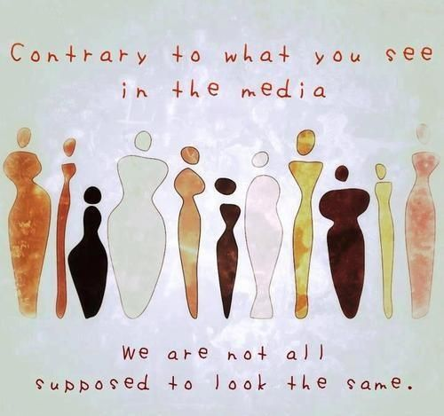 In the Media everyone is viewed as the same weight, height, color but in reality this pictures shows how everyone really is. The differences in skin color, and body type.