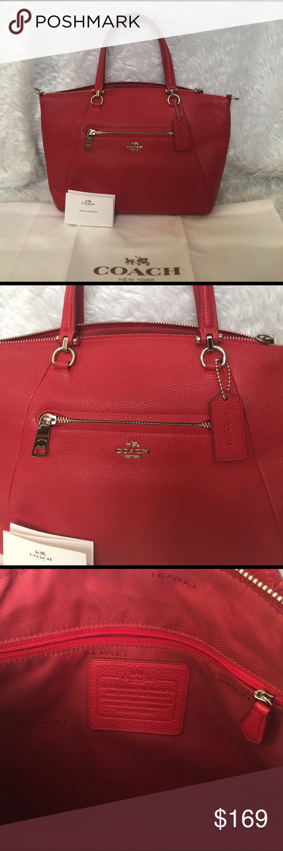 💯Coach Prairie Satchel Red w/silver hardware NWOT 💯Coach Prairie Satchel Red w/silver hardware NWOT. Bag was never carried was a customer return from a major department store. Completely clean inside and out. Missing shoulder strap. Comes with dust bag and car card. Pet free smoke free. ❌trade. Make reasonable offers please. Coach Bags Satchels
