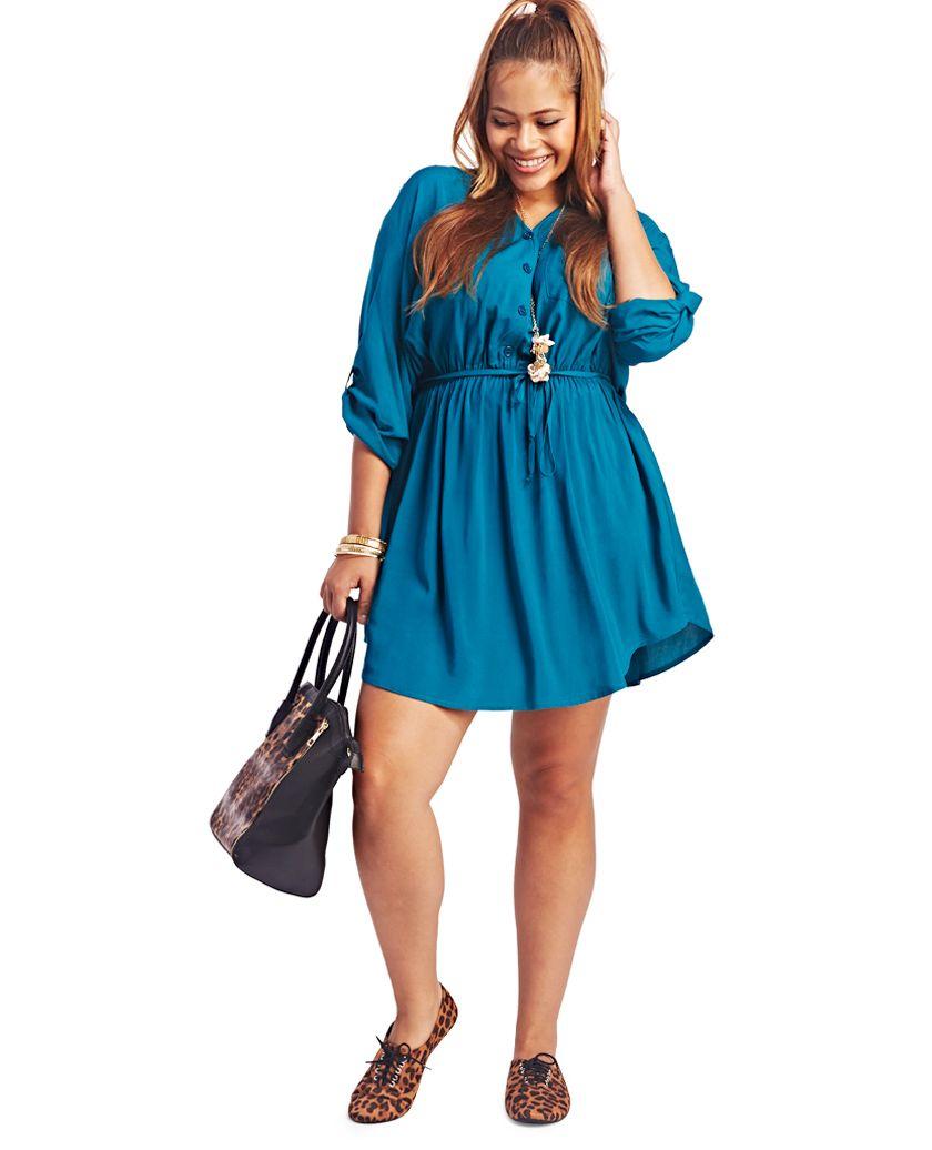 Solid Shirt Dress | Wet Seal Plus #curvy #plussize | Curvy \'N Fly ...