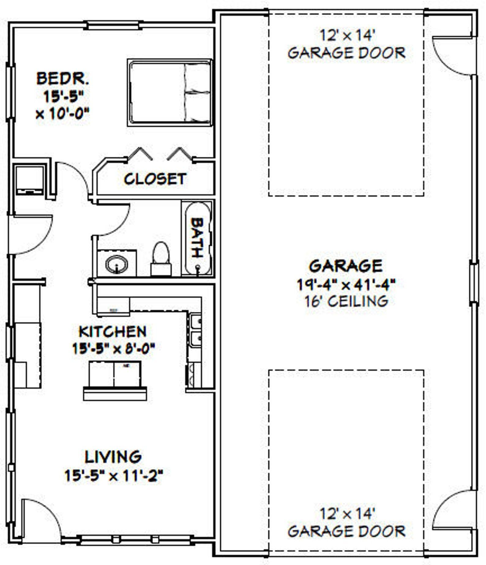 36x42 1rv garage 1 bedroom 1 bath 1480 sq ft pdf  etsy