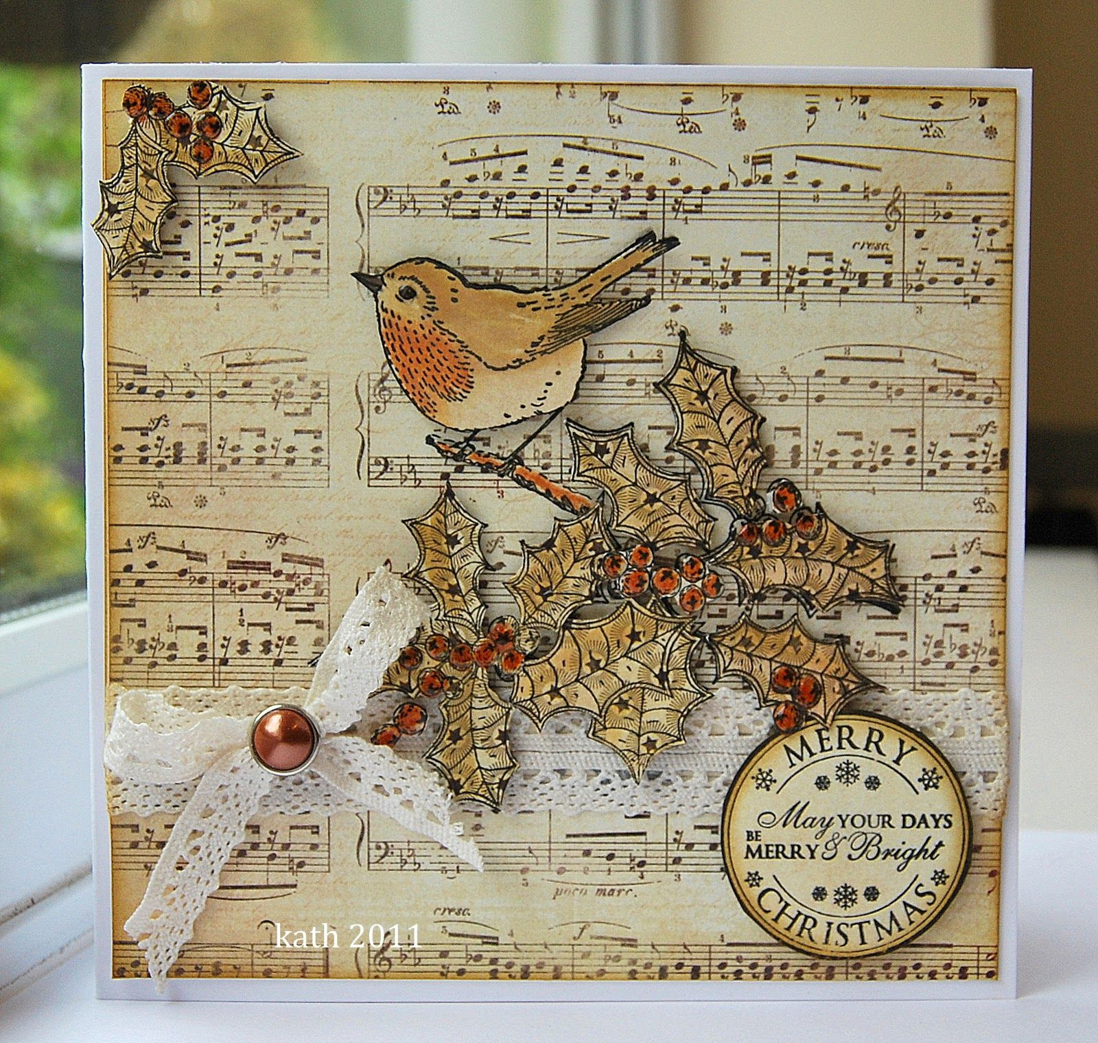 Like the verse on the disk and the music sheet background vintage music christmas card like music holly m4hsunfo