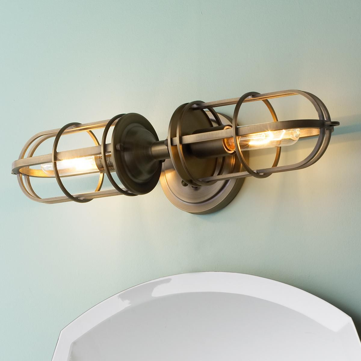 Superbe Nautical Cage 2 Light Bath Light. Nice But Pricey. But Does Use High Watt