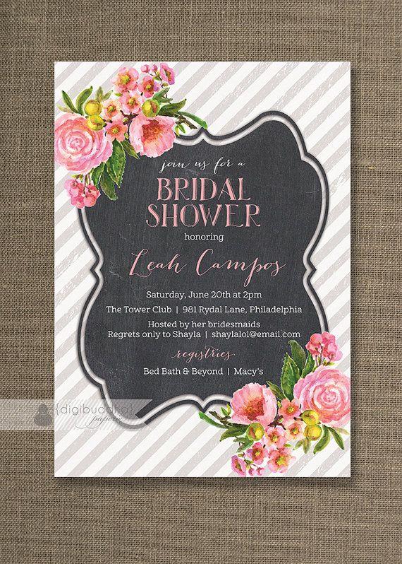 Pink Floral Bridal Shower Invitation Pink Roses Chalkboard Gray - printable bridal shower invites