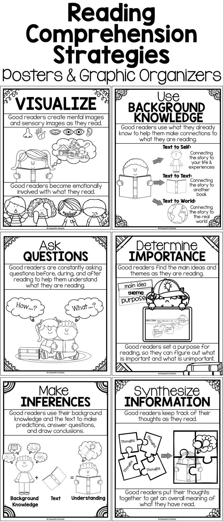 - Reading Comprehension Strategies Posters, Graphic Organizers - At