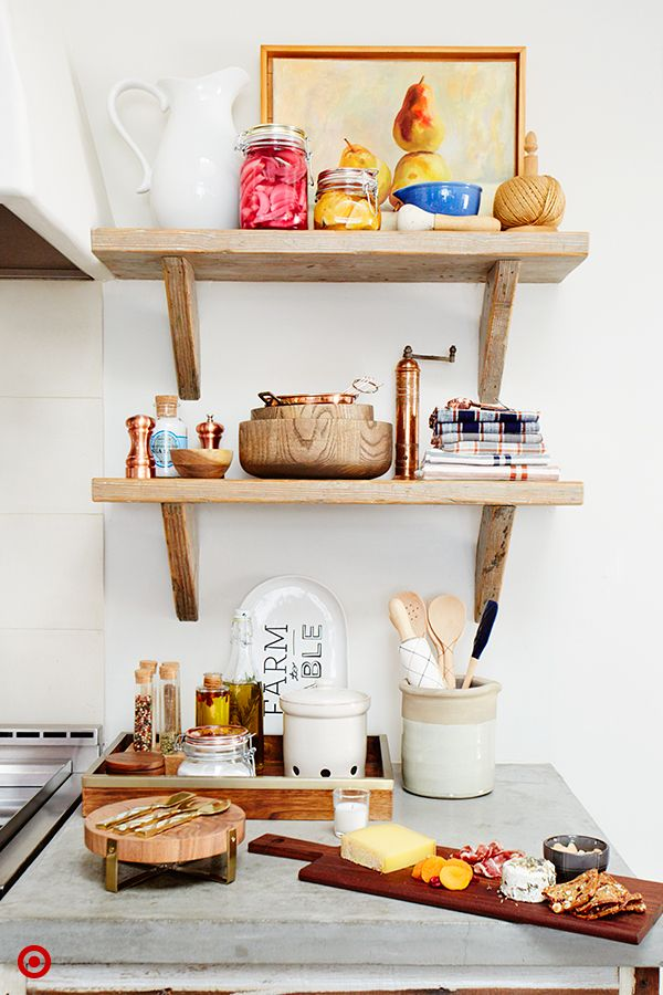 Style Tip from Target Home Style Expert, Emily Henderson: Open shelving is a pretty way to showcase seasonal accents in the kitchen. Accents can be easily switched out at the onset of each new season. For a taste of fall, display pretty jars of pickled vegetables. Add a bit of warmth with a mixture of natural, wooden accents with metallic copper pieces. Complete the look by layering in a vintage piece of art.