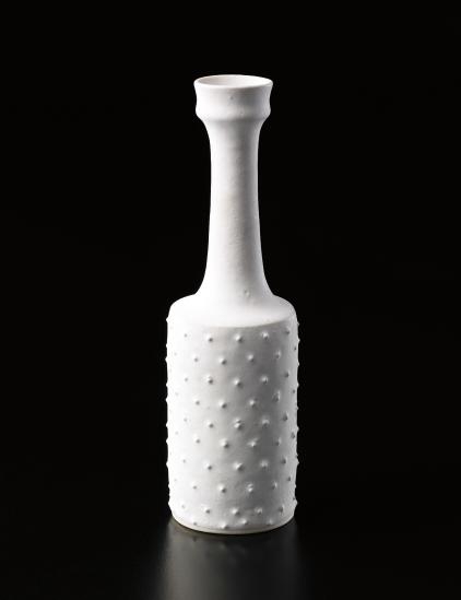Bottle with raised dots, Porcelain, squared body, matte white glaze. 9 1/4 in. (23.5 cm) high, 2 3/4 in. (7 cm) diameter, c.1976